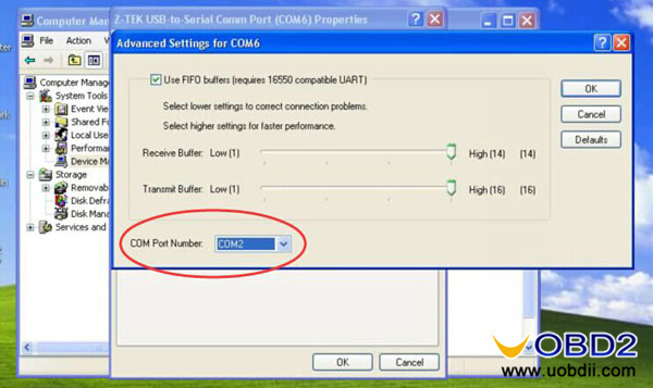 Download & install Z-TEK USB 1 1 Driver and change COM Port