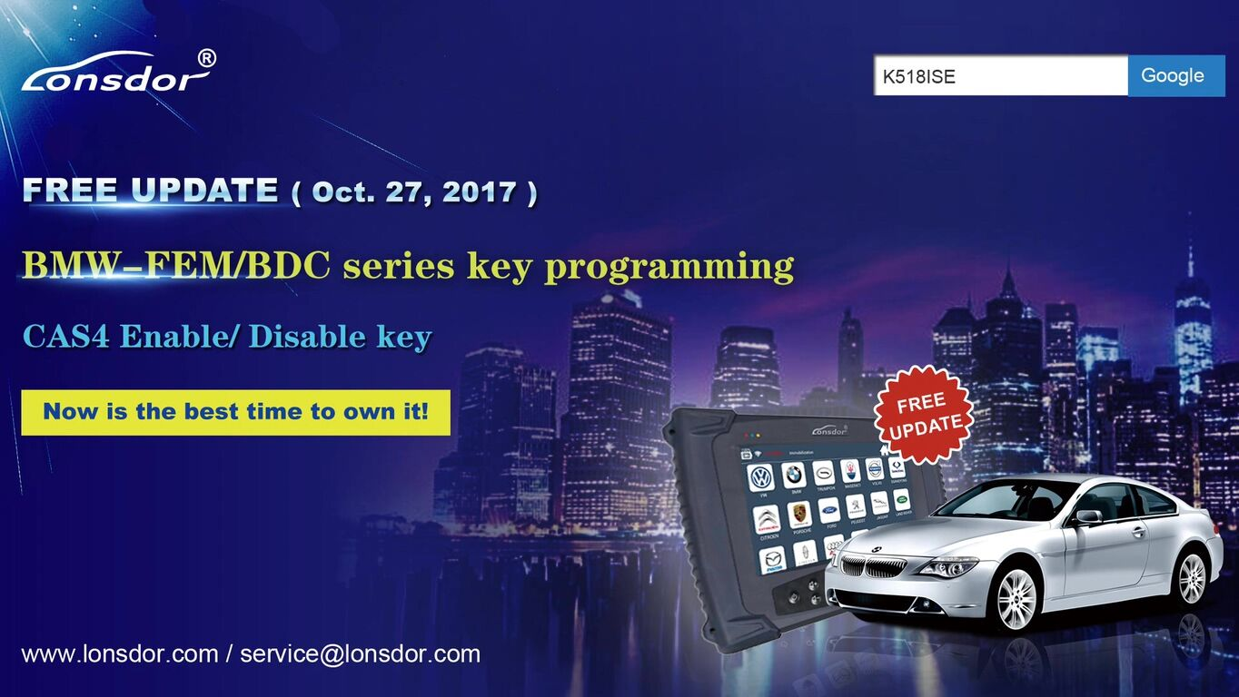 "Lonsdor K518ISE is a newest key programmer tool which is verified to program BMW FEM BDC key in the dismantling FEM module method (same as Xhorse VVDI2, Yanhua BMW FEM key programm, etc.), what a nice feature is the Lonsdor official notice: the BMW-FEM/BDC is updated for free, no more charge for the authorization or update, no more token. Lonsdor K518ISE program BMW FEM BDC key on Youtube video: <iframe width=""560"" height=""315"" src=""https://www.youtube.com/embed/3pSRoF7MwBU"" frameborder=""0"" allowfullscreen></iframe> Steps with words & pictures: Tap Immobilization->BMW-> by IMMO system->FEM/BDC BMW-FEM/BDC Functions introduction: 1- read key information: read out key data and prompt that if the immobilizer system needs pre-processing. 2- Pre-process FEM/BD system: backup original coding data, read out EEPROM, generate the service mode EEPROM data, program, restore the original EEPROM data, restore coding codes (for the details, please read the operation guide). 3- Generate dealer key: program a new key as a dealer key. 4- enable key: set a ""disabled"" key to ""enabled"". 5- disable key: set a ""enabled"" or a ""lost"" key as ""disabled"". 6- delete key: delete keys that are unnecessary or lost. Steps: Mainly 3 steps: read key info->Pre-process FEM/BD system->Generate dealer key. Read the operation instructions in the below picture: Step 1. read key info Before operating other functions, you must read key info firstly including VIN, type, current key position and kilometers etc (see below picture). Step 2. pre-process FEM/BDC system 1: OBD backup the original coding data: Connect the FEM/BDC system on the car or the test platform, then backup the original coding files via OBD. 2: read out EEPROM backup data & generate service mode EEPROM: Remove the FEM/BDC module, find out chip 95128 or 95256, read EEPROM data using an ECU programmer e.g VVDI-Prog, Orange5 etc.; Import the EEPROM data into the customfile folder of Lonsdor K518ISE; Enter the program, read original EEPROM data and generate service mode EEPROM, export the service mode EEPROM data, write it into the chip 95128 / 95256 with the ECU programmer. Restore FEM/BDC system, supply power to the car and connect via OBD 3: programming This procedure requires to be done on the BMW FEM/BDC test platform, meawhile you have to ensure that Step 1 & 2 is finished. Supply power to the FEM/BDC system and connect it to the OBD port. 4: restore EEPROM data Remove FEM/BDC module, write the original EEPROM data (Step 2) into chip 95128/95256 Restore FEM/BDC system, supply power and connect to OBD 5: restore coding data Load the coding files that are backed up in step 1, restore coding information via OBD 6: pre-processing is done. Step 3: Generate dealer key. 1: Lonsdor K518ISE Programmer reads out data, select the key position to be generated. 2: Choose ""by original car key"" to make a dealer key, for all key lost: enter 32-bit ISN code 3: Put the original key near the car immo induction loop 4: Detecting the original key, read out immo data 5: Put a new key near the car immo induction loop (see the above picture) 6: Detect the key key, learn new key (don't move the key, keep stable) 7: key learn complete. Step 4: disable the key 1: Lonsdor K518ISE read out data, select the key ID position to disable 2: Put a working key near the car induction loop 3: K518ISE system tries to connect to CAS, disable the key in the current ID position, disable key with success. Step 5: enable the key 1: Lonsdor K518ISE read out data, select the key ID position to enable 2: put a ""used"" key near the car induction loop 3: K518ISE system tries to connect to CAS, enable the key with current ID position, enable key successfully Step 6: delete the key 1: K518ISE read out data, select the key ID position to delete 2: read FEM/BDC key pin code 3: delete the key successfully; the key position is blank Tips (Very important): 1: Please remember to read key info before you want to operate any function. 2: 5 tips on pre-process FEM/BDC (all the dismantle operations need to power off) 1) via OBD to backup original code 2) Dismantle & read car EEPROM and import to K518ISE customfile. 3) Generate and write the service mode EEPROM data to FEM, re-install to program 4) Dismantle FEM and write back original EEPROM data, reinstall to restore EEPROM. 5) ECU programming: need 6 min, with power supply connected 6) disconnect to the power supply, disassemble CPU, write the original EEPROM data into the chip, install CPU on the car, connect to the power supply, make sure communicate is successful 7) upload coding files (Step 1), restore original coding info to pre-process, then make a dealer key Done! Lonsdor K518ISE program BMW FEM BDC key. Any questions & suggests, please feel free to email at Sales@UOBDII.com"