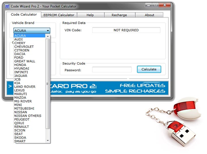 "CWP2 Code Wizard Pro 2 PinCode Calculator, the 2nd generation of Code Wizard Pro software, is a software program that supports wide range of various vehicles made by most popular manufacturers. Code Wizard Pro 2 is used to generate immobilizer PIN codes, mechanical KEY codes and dealer tool security codes. CWP2 is newly released on www.uobdii.com, ship from abroad and it is original version not crack one.   For all info, please go on reading below paragraphs.   CWP2 CODE WIZARD PRO 2 overview: Calculation of security codes for immobilizer key programming and electronic unit synchronization, calculation of mechanical KEY codes by VIN, passwords for Coded Access to security functions of genuine OEM software and much more. Code Wizard Pro 2 is a powerful solution for real professionals. Despite the complex algorithms and sophisticated features CWP-2 is user friendly and easy to use.   Code Wizard Pro 2 project developed to more sensible to the need of all types of users. It doesn't matter how many calculations you are going to make. There are no limits for calculations at all. Every calculation has its own price, price is evaluated in number of tokens that you need to spend on any calculation. More than 50% of calculations are required ZERO tokens and maybe be available in DEMO mode. Tokens are available on our shop and you can order as many tokens as you think you might need for your calculations. That's it. No more highly expensive updates, your Code Wizard Pro 2 software will be always up to date and ready.  Supported vehicles and calculation methods of CODE Calculator  1.Acura, Honda – 1st Password for HDS < 3.014 ¹ 2.Acura, Honda – Release Password for HDS < 3.014 ¹ 3.Acura, Honda – PCM code for HDS < 3.014 ¹ 4.Chery, Qirui, Great Wall – VIN to PIN Code (4/8 chars) ¹ 5.Chevrolet – VIN to PIN code for LATAM models ¹ 6.Chevrolet – VIN to KEY code for LATAM models ¹ 7.Chevrolet – VIN to Radio code for LATAM models ¹ 8.Citroen, Peugeot – Function Unlock Password ³ 9.Dacia, Renault – KEY tag to PIN code (4 digit code) ¹ 10.Dacia, Renault – Incode to PIN code ³ 11.Dacia, Renault – PIN code to Incode ³ 12.Dacia, Renault – Clip Reprogramming code (6 chars code) ¹ 13.Dacia, Renault – PRECODE to Radio code ¹ 14.Ford, Jaguar, Land Rover, Mazda – Outcode to Incode < 2010 ² 15.Infiniti, Nissan – BCM to PIN code (pre 2009 vehicles) ¹ 16.Infiniti, Nissan – BCM to PIN code (after 2009 vehicles) ¹ 17.Infiniti, Nissan – ICU to PIN code (NATS 5.6) ¹ 18.Infiniti, Nissan – SEC to PIN code (NATS 6) ¹ 19.Infiniti, Nissan – VIN to KEY code (1998-2013 vehicles)  ³ 20.Jaguar, Land Rover – Seed to Password (JLR IDS, SDD) ³ 21.JCB – Challenge to Response value (JCB ServiceMaster) ³ 22.KIA, Hyundai – VIN to PIN code (SMARTRA-2 only) ¹ 23.KIA, Hyundai – VIN to PIN code (2007-2017 vehicles) ³ 24.KIA, Hyundai – VIN to KEY code (1986-2017 vehicles) ³ 25.KIA, Hyundai – ACU Variant Coding code ³ 26.Lexus, Toyota, Scion – Seed to Password (Techstream, IT) ³ 27.Maruti, Suzuki – ECM Seed to PIN code (4 digit code)² 28.Maruti, Suzuki – ECM Seed to PIN code (8 digit code)³ 29.Mazda – ISN to PIN code (Lucas immobilizer) ¹ 30.Mercedes Benz – Dealer Hash to Password (8 bytes) ³ 31.Mercedes Benz – W204 EZS to ESL Password (8 bytes) ³ 32.Mini, Land Rover, MG Rover – Serial to Barcode (Valeo remotes) ¹ 33.Mitsubishi – Default PIN code ¹ 34.Nissan – Gloovebox ID to PIN Code ³ 35.Nissan – ECM Seed to PIN Code ³ 36.Saab – VIN to PIN code (9-3, 2003-2008 vehicles) ³ 37.Smart – Teach-in KEY Again ³ 38.Smart – SAM Assignment ³ 39.Smart – VIN to KEY Code (1998-2015 vehicles) ¹ 40.Suzuki – Default PIN code ¹ 41.Volkswagen, Audi, Seat, Scoda – SKC Converter ¹   Supported vehicles and electronic units of EEPROM Calculator        1.Alfa Romeo, Fiat, Iveco,  Lancia – PIN code by dump ³ 2.Buell – PIN code by dump ¹ 3.Buick, Chevrolet, Holden, Opel, Vauxhall – PIN code by dump ³ 4.Chang'an – PIN code by dump ¹ 5.Chery, Qirui, Geely – PIN code by dump ¹ 6.Chrysler, Dodge, Plymouth, Jeep – PIN code by dump ¹ 7.Citroen, Peugeot – PIN code by dump ³ 8.Dacia, Renault – PIN code by dump ³ 9.Ducati – PIN code by dump ³ 10.Great Wall – PIN code by dump ¹ 11.Hyundai, KIA – PIN code by dump ² 12.IKCO – PIN code by dump ² 13.Infiniti, Nissan – PIN code by dump ² 14.Isuzu – PIN code by dump ¹ 15.Jaguar – PIN code by dump ¹ 16.Land Rover – PIN code by dump ¹ 17.Suzuki, Maruti – PIN code by dump ¹ 18.Mazda – PIN code by dump ² 19.MG Rover – PIN code by dump ¹ 20.Mitsubishi – PIN code by dump ¹ 21.Porsche – PIN code by dump ¹ 22.Saab – PIN code by dump ¹ 23.Saipa – PIN code by dump ² 24.Volkswagen, Audi, Seat, Skoda – PIN code by dump ¹ 25.Volkswagen, Audi, Seat, Skoda – CS code by dump ¹ 26.Volvo – PIN code by dump ¹ ¹ – This type of calculation is available in DEMO mode ² – Tokens are not required for this type of calculation  ³ – Tokens are required for this type of calculation  Tokens required: Number of tokens required for calculation of one code   ""*"" Means Using third party source for unavailable codes. ""0"" means what tokens will not be charged and this type of calculation ""may be available in DEMO mode"". Tokens will not be charged for unsuccessfully calculations. Please double check data you entered before pressing ""Calculate"" button. For codes by dump please double check selected brand name and type of calculation. We recommend you to update software regularly, number of tokens required for calculations may be reduced.   Code Calculator Citroen - Funtion to Unlock Password = 10 Dacia - Incode to PIN code = 2 Dacia - PIN code to Incode = 2 Hyundai - VIN to PIN Code (2007-17) = 5/25* Hyundai - VIN to PIN Code (<=2017) = 7/25* Hyundai - VIN to ACU Variant Code = 15* Infiniti - VIN to KEY Code (<=2013) = 7 Jaguar - Seed to Password (SDD) = 5 JCB - Challenge to Response = 10 KIA - VIN to PIN Code (2007-17) = 5/25* KIA - VIN to KEY Code (<=2017) = 7/25* KIA - VIN to ACU Variant = 15* Land Rover - Seed to Password (SSD) = 5 Lexus - Passcode (Techstream, IT) = 5 Maruti - ECM to PIN Code (8 digit) = 5 Mercedes Benz - Dealer Password (8 bytes) = 150* Mercedes Benz - ESL Password (8 bytes) = 150* Nissan - VIN to KEY Code (<=2013) = 7 Nissan - G-Box to PIN Code (B-Plat) = 5 Nissan - ECM to PIN Code (4 chars) = 5 Peugeot - Function Unlock Password = 10 Renault - Incode to PIN Code = 2 Renault - PIN Code to Incode = 2 Saab - VIN to PIN Code (93, 03-08) = 5 Scion - Passcode (Techstream, IT) = 5 Smart - Teach-in Key Again (DAS) = 2 Smart - SAM Assignment (DAS) = 2 Suzuki - ECM to PIN Code (8 digit) = 5 Toyota - Passcode (Techstream, IT) = 5 EEPROM Calculator Alfa Romeo - PIN code by dump = 1 Buick - PIN code by dump = 1 Buick - KEY code by dump = 1 Chevrolet - PIN code by dump = 1 Chevrolet - KEY code by dump = 1 Citroen - PIN code by dump = 1 Dacia - PIN code by dump = 1 Ducati - PIN code by dump = 1 Fiat - PIN code by dump = 1 Holden - PIN code by dump = 1 Holden - KEY code by dump = 1 Iveco - PIN code by dump = 1 Lancia - PIN code by dump = 1 Opel - PIN code by dump = 1 Opel - KEY code by dump = 1 Peugeot - PIN code by dump = 1 Renault - PIN code by dump = 1 Vauxhall - PIN code by dump = 1 Vauxhall - KEY code by dump = 1 All Others = 0  For tokens package, contact email at Sales@UOBDII.com.  CWP2 Update history: v1.4.2 Added calculation of Passcodes for Techstream version 12.20.024 and newer v1.4.1 Added KEY codes by VIN for Nissan Murano 2015-2016 (partial coverage) v1.4.0 Added calculation of Access code from Request code for coded access with IDS / SDD for Jaguar and Land Rover vehicles v1.3.9 Added calculation of Passcodes for Techstream version 12.10.019 and newer - Added PIN codes by dump for earlier unsupported Isuzu and Opel vehicles v1.3.8 Update of Suzuki and Maruti 0x51 algorithm (newest Japan and Asian models) Added PIN codes by dump for earlier unsupported Mitsubishi vehicles v1.3.7 Added calculation of 8 digit security unlock code for Mitsubishi MME-31761 Navigation units v1.3.6 Added calculation of Passcodes for Techstream version 12.00.124 Updated algorithm for calculation of barcodes for Valeo remotes v1.3.5 Added calculation of 8 digit PIN codes for Suzuki and Maruti vehicles (0x51 algorithm) v1.3.4 System update for calculation of ACU, PIN and KEY codes by VIN for KIA and Hyundai vehicles System update for calculation of ESL and Dealer passwords for Mercedes Benz vehicles v1.3.3 Added PIN codes by dump for PSA vehicles from earlier unsupported BSI units v1.3.2 Added calculation of Passcodes for Techstream versions 11.30.024, 11.30.037 and newer Reduced number of tokens required for calculations of codes for various brands v1.3.1 Added calculation of 8 digit PIN codes for Suzuki and Maruti vehicles v1.3.0 Added KEY codes by VIN for earlier unsupported KIA and Hyundai 1986-2016 vehicles v1.2.9 Added PIN codes by VIN for earlier unsupported KIA and Hyundai 2007-2016 vehicles v1.2.8 Added calculation of Pass Codes for Techstream version 11.20.019 v1.2.7 Added calculation of Dealer Password and W204 ESL Password for Mercedes Benz vehicles v1.2.6 Added KEY codes by VIN for earlier unsupported KIA and Hyundai 1986-2016 vehicles v1.2.5 Added PIN codes by VIN for earlier unsupported KIA and Hyundai 2007-2016 vehicles v1.2.4 Update application to solve our challenges and win up to 50,000 tokens or cash equivalent v1.2.3 Added calculation of PIN codes by serial number starting with 4 for Mazda models with Lucas immobilizer Added PIN codes by dump for Nissan and Infiniti vehicles from earlier unsupported BCM units System update for calculation of ACU, PIN and KEY codes by VIN for KIA and Hyundai vehicles v1.2.2 Added calculation of PIN codes by VIN for Saab 9-3 2003-2008 models v1.2.1 Added calculation of Pass Codes for Techstream version 11.10.034 v1.2.0 Added ACU Variant Codes by VIN for KIA and Hyundai vehicles Improved coverage of PIN and KEY codes by VIN for earlier unsupported KIA and Hyundai vehicles Added PIN codes by dump for Peugeot and Citroen vehicles from earlier unsupported BSI units, Alfa Romeo 156 remote programming v1.1.9 Added PIN codes by dump for Peugeot and Citroen vehicles from earlier unsupported BSI units v1.1.8 Added calculation of Pass Codes for Techstream versions 11.00.017 and 11.00.019 v1.1.7 Added calculation of RADIO codes by Precode for Renault and Dacia models v1.1.6 Added RADIO codes by VIN for Chevrolet 2000-2009 vehicles made in Latin America (partial coverage) v1.1.5 Added KEY codes by VIN for earlier unsupported Smart 2015-2016 vehicles v1.1.4 Added PIN codes by dump for Peugeot and Citroen vehicles from earlier unsupported ECU units v1.1.3 Added calculation of Pass Codes for Techstream version 10.30.029 v1.1.2 Added PIN codes by dump for Opel vehicles from earlier unsupported CID, BCM and NAVI units v1.1.1 Added KEY codes by VIN for earlier unsupported KIA and Hyundai 1986-2015 vehicles v1.1.0 Added PIN codes by VIN for earlier unsupported KIA and Hyundai 2007-2015 vehicles v1.0.9 Added KEY codes by VIN for earlier unsupported Smart 2015 vehicles"