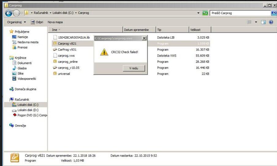 carprog v8.21 Activation CRC32 Check failed-1