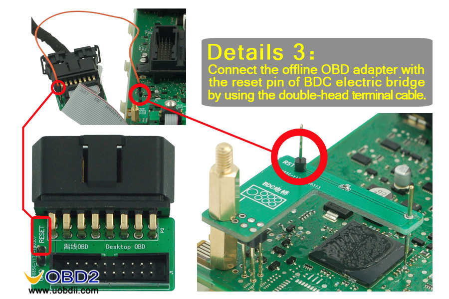 connect the offline obd adapter with the reset pin of BDC electric bridge-05