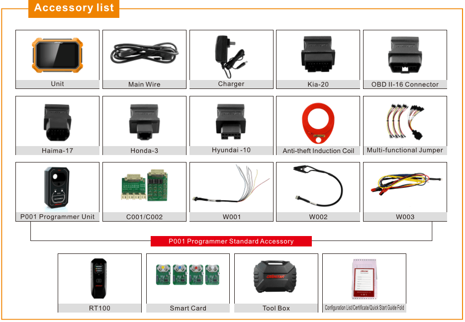 obdstar X300 dp plus accessories