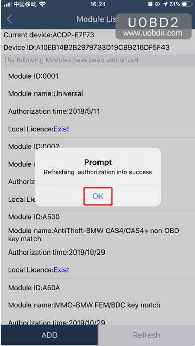 Solution Yanhua ACDP does not obtain authorization of A802 Error (10)