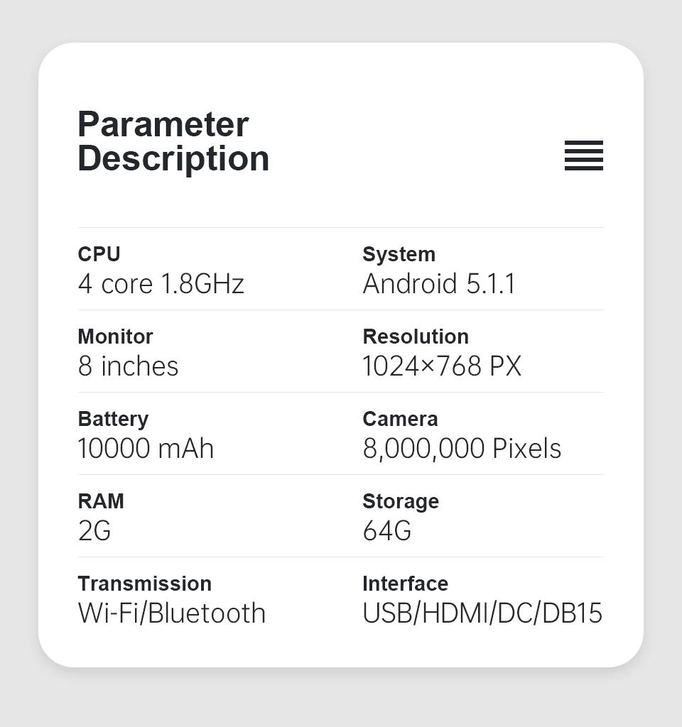 XTool X100 Pad Elite (X100 Pad3) parameter