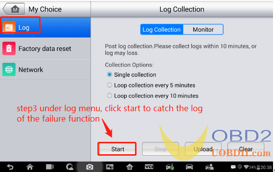 How to catch the system log with Autel IM608 step 3
